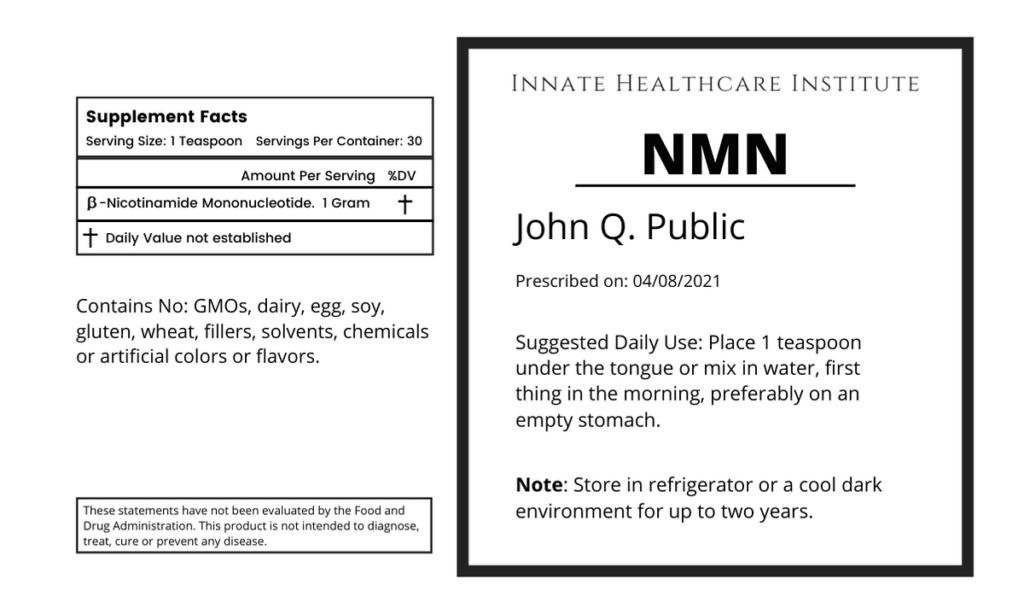 NMN Label - Longevity medicine supplement