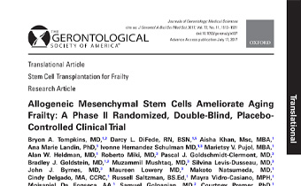 Allogeneic Mesenchymal Stem Cells Ameliorate Aging Frailty- A Phase II Randomized, Double-Blind, PlaceboControlled Clinical Trial Innate Healthcare