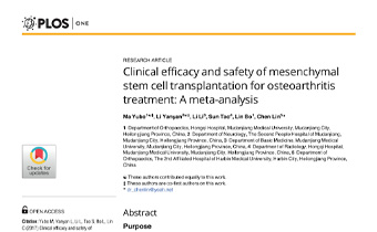 Clinical efficacy and safety of mesenchymal stem cell transplantation for osteoarthritis treatment- A meta-analysis Innate Healthcare