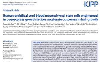 Human umbilical cord blood mesenchymal stem cells engineered to overexpress growth factors accelerate outcomes in hair growth Innate Healthcare