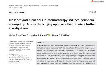 Mesenchymal stem cells in chemotherapy‐induced peripheral neuropathy Innate Healthcare