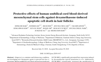 Protective effects of human umbilical cord blood‑derived mesenchymal stem cells against dexamethasone‑induced apoptotic cell death in hair follicles Innate Healthcare