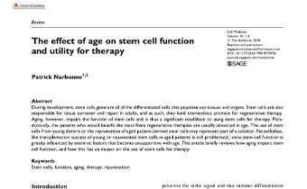 The effect of age on stem cell function and utility for therapy Innate Healthcare